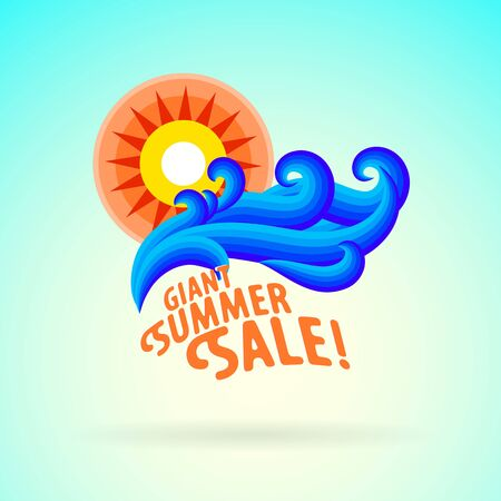 Vector illustration with waves and sun symbol and splashing water on vintage blue background. Design template for hotel logo or beach party invitation. Concept of summer sale and vacation