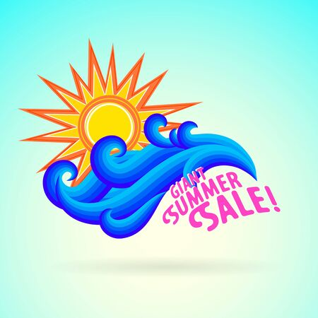 Vector illustration with pink letters, waves and sun symbol and splashing water on sky blue background. Design template for hotel logo or beach party invitation. Concept of summer sale and vacation Ilustração