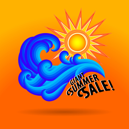 Vector illustration with waves and geometric sun symbol and splashing water on bright red background. Design template for hotel logo or beach party invitation. Concept of summer sale and vacation Illustration