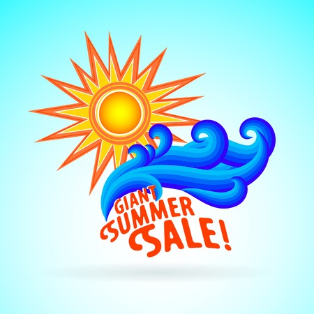 Vector illustration with text, waves and sun symbol and splashing water on sky blue background. Design template for hotel logo or wedding on beach invitation. Concept of summer sale and vacation Illustration