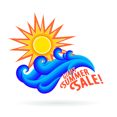mexico beach: Vector illustration with waves and geometric sun symbol and splashing water isolated on white background. Design template for hotel logo or beach party invitation. Concept of summer sale and vacation