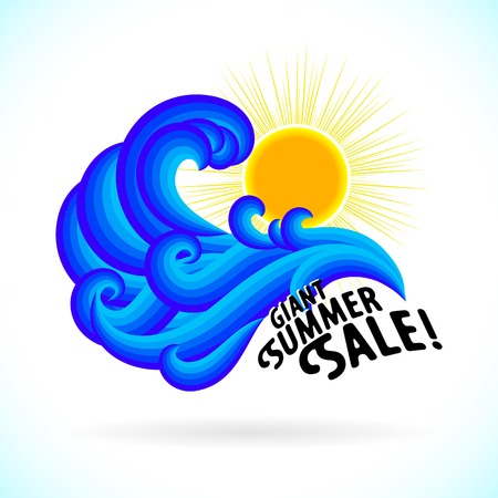 Vector illustration with waves and sun symbol and splashing water on sky blue background. Design template for hotel logo or beach party invitation. Concept of summer sale and vacation Illustration