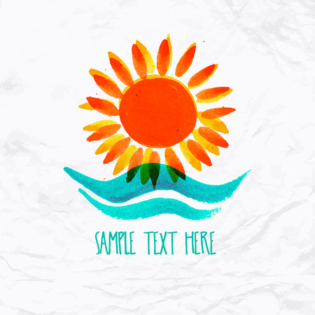 community help: Vector watercolor logo with sun, wave, water splash and text. Design template and concept of positive attitude, family vacation, friendship, charity, local community, help, awareness, care and sharing Illustration