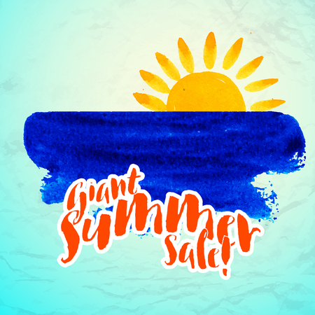Vector watercolor logo with sun, wave, water color brushstroke and text. Design template and concept of optimism, nature, ecology, family vacation, friendship, local community