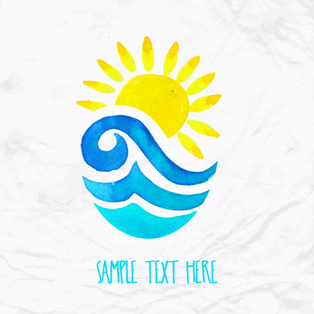 Vector watercolor logo with sun, wave, water splash and text. Design template and concept of positive attitude, family vacation, friendship, charity, surfing community, help, awareness, care