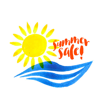 community event: Vector watercolor logo with sun, wave, fresh water and text. Design template and concept of positive attitude, family vacation, friendship, charity, summer local community event, care and sharing