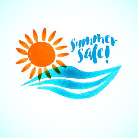 태양, 파도, 물, 텍스트 벡터 수채화 로고. 디자인 템플릿과 영감, 가족 휴가, 여름 세일, 여름 캠프, 보육, 태양과 물 에너지의 개념, 지역 사회 행사