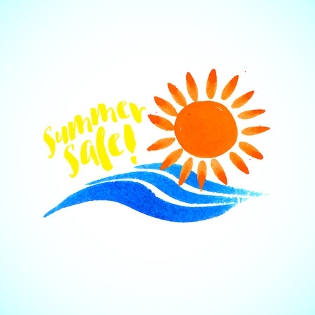 calm water: Vector watercolor logo with sun, wave, calm water and text. Design template and concept of positive attitude, family vacation, friendship, charity, local community, help, awareness, care and sharing