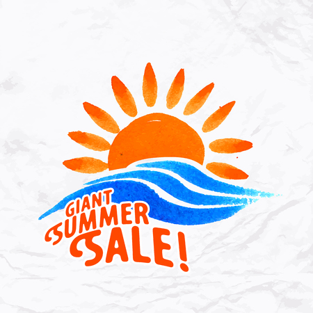 sun beach: Vector watercolor logo with sun, wave, water splash and text. Design template and concept of nature, environment, family vacation, summer sale, beach party invitation, solar and water energy Illustration