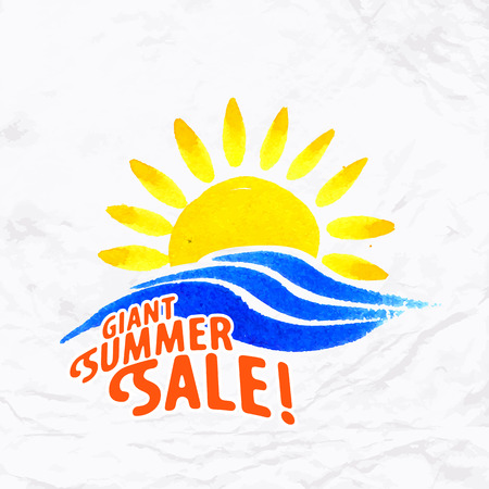 positive energy: Vector watercolor logo with sun, wave, water splash and text. Design template and concept of positive, family vacation, summer sale, local community, beach party invitation, solar and water energy
