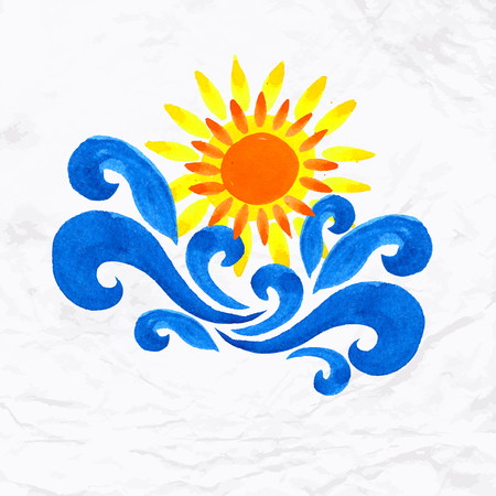 community event: Vector watercolor logo with sun, waves and water splash. Design template and concept of beach party, coastal family vacation, surfing club event, local community,  energy, care and sharing, childhood Illustration