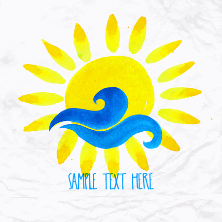 Vector watercolor logo with sun, wave, water splash and text. Design template and concept of positive attitude, family vacation, friendship, charity, local community, help, awareness, care and sharing Illustration