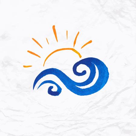 태양, 물결, 스플래시와 텍스트 벡터 수채화 로고. 디자인 템플릿 및 호텔 로고, 가족 휴가, 우정, 자선, 지역 사회, 도움, 인식, 배려 및 공유의 개념 일러스트