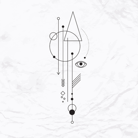 Abstract mystic sign with geometric shapes, triangles, chevrons, arrows, circles, and alchemy and ancient masonic symbols, eye, pyramid. Vector linear illustration. Simple, modern elegant tattoo art.
