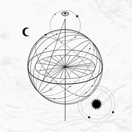 Vecteur géométrique symbole de l'alchimie avec les yeux, la lune, le soleil Résumé signe occulte et mystique. Logo linéaire et spirituelle conception Illustration de ciel sphère et l'espace. Concept de la magie, de la science, l'astrologie