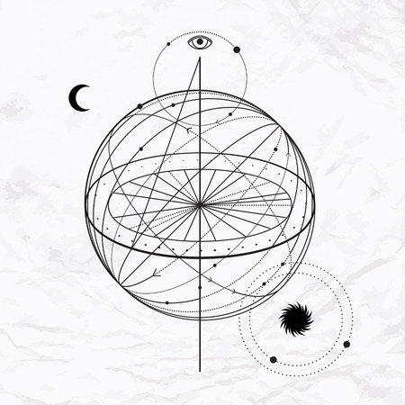 Vector geometric alchemy symbol with eye, moon, sun Abstract occult and mystic sign. Linear logo and spiritual design Illustration of sky sphere and outer space. Concept of magic, science, astrology Illustration
