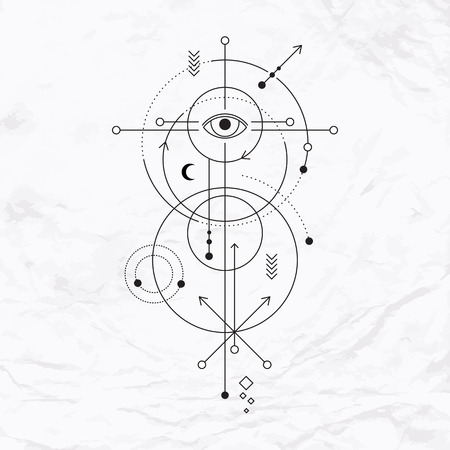 alchemist: Abstract mystic sign with geometric shapes, chevrons, arrows, circles, and alchemy and ancient masonic symbols, eye, planets trails and paths. Vector illustration of modern witchcraft drawn in lines