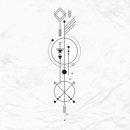 linear: Abstract mystic sign with geometric shapes, triangles, chevrons, arrows, circles, dots and other symbols, planets paths. Vector linear illustration of magic craft. Modern, elegant, simple tattoo art Illustration