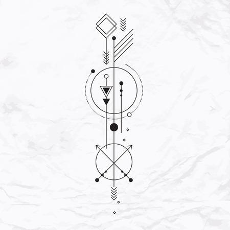 Signe mystique abstrait avec des formes géométriques, des triangles, des chevrons, des flèches, des cercles, des points et des autres symboles, les planètes chemins. Vector illustration linéaire de l'artisanat de la magie. Moderne et élégant art du tatouage,, simple