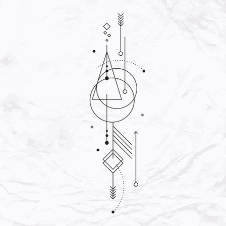 Vettore geometrico alchimia simbolo con l'occhio, il sole, la luna, le forme e occulto astratto e segni mistici. Logo design lineare e spirituale. Concetto di immaginazione, la magia, la creatività, la religione, l'astrologia Archivio Fotografico - 47519899