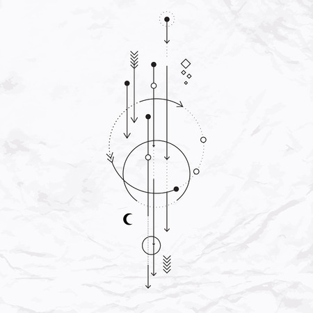 occult: Vector geometric alchemy symbol with moon, arrows, dots, shapes. Abstract occult and mystic signs. Linear logo and spiritual design. Concept of imagination, magic, creativity, religion, astrology