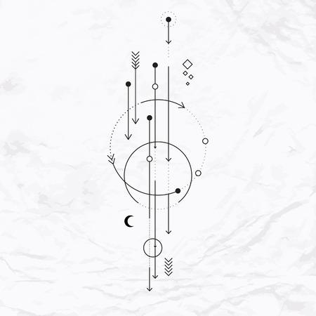 Vector geometrische alchemie symbool met maan, pijlen, stippen, vormen. Abstracte occulte en mystieke tekens. Lineaire logo en spirituele ontwerp. Concept van de verbeelding, magie, creativiteit, religie, astrologie