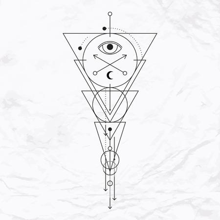 눈, 달, 모양 벡터 기하학적 연금술 기호. 추상 신비로운 신비 표지판입니다. 리니어 로고와 영적 디자인. 상상력, 마술, 창의성, 종교, 점성술의 개념