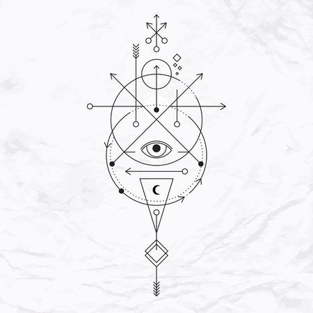 Vecteur géométrique symbole de l'alchimie avec les yeux, la lune, les formes. Résumé occulte et signes mystiques. Logo design linéaire et spirituelle. Concept de l'imagination, de la magie, de la créativité, de la religion, l'astrologie