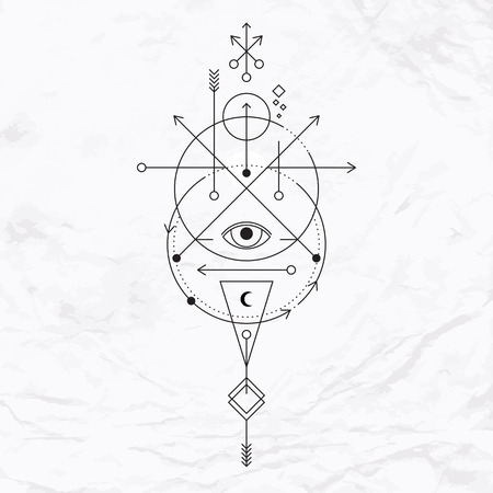 Vector geometric alchemy symbol with eye, moon, shapes. Abstract occult and mystic signs. Linear logo and spiritual design. Concept of imagination, magic, creativity, religion, astrology