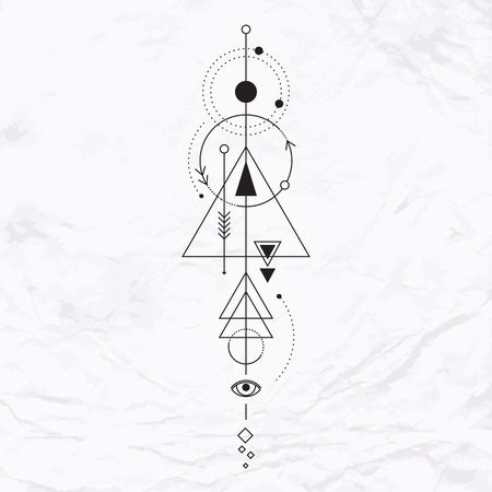 pyramid of the sun: Vector geometric alchemy symbol with eye, moon, shapes. Abstract occult and mystic signs. Linear logo and spiritual design. Concept of imagination, magic, creativity, religion, astrology
