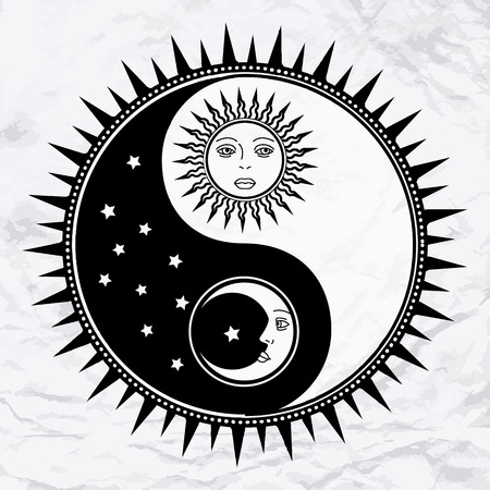 Vector yin yang symbol with sun, moon, faces, stars. Abstract occult and mystic sign. Black and white spiritual design. Concept of feng shui, magic, opposite, man woman relations, astrology, zen, yoga