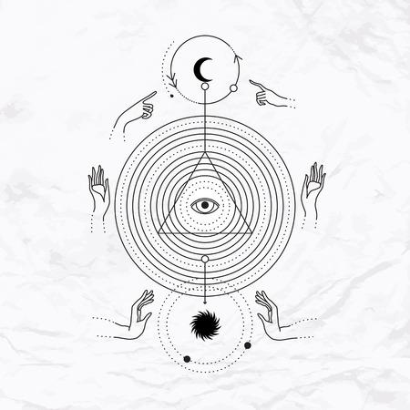 Vector geometrische alchemie symbool met cirkels, oog, maan, zon, handen, driehoeksvorm. Abstracte occulte en mystieke tekens. Lineaire logo en spirituele ontwerp. Concept van magie, astrologie, wijsheid, kabbalah