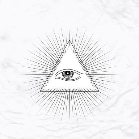 mystical: Vector geometric ancient alchemy symbol with eye, pyramid, shapes. Abstract occult and mystic signs. Linear logo and spiritual design. Concept of imagination, magic, creativity, religion, astrology