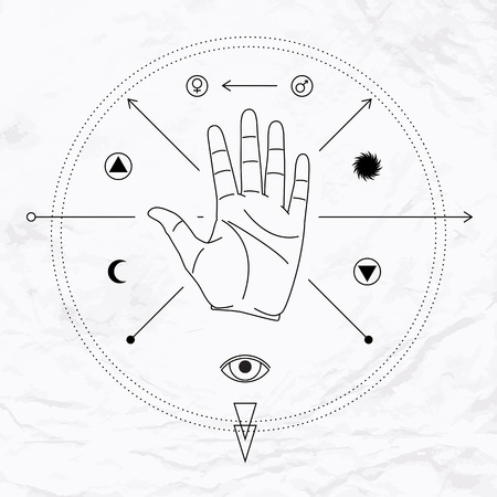 Vector linear illustration of open hand in circle with crossed arrows, sun, moon, man woman symbols and elements. Abstract occult, mystic, esoteric signs. Spiritual design. Concept of palmistry, magic
