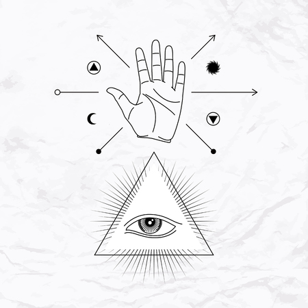 palmistry: Vector geometric alchemy symbol with eye, pyramid, moon, sun, shapes and open hand. Abstract occult and mystic signs. Linear logo and spiritual design. Concept of palmistry, magic, astrology, mystery