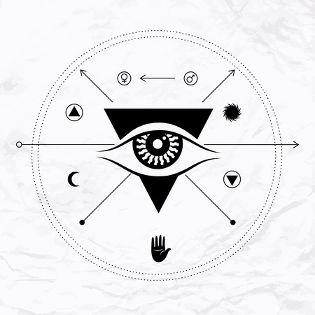 palmistry: Vector geometric alchemy symbol with eye, sun, moon, crossing arrows, open hand, shapes, lines. Abstract occult and mystic signs. Linear logo and spiritual design. Concept of magic, astrology, tantra