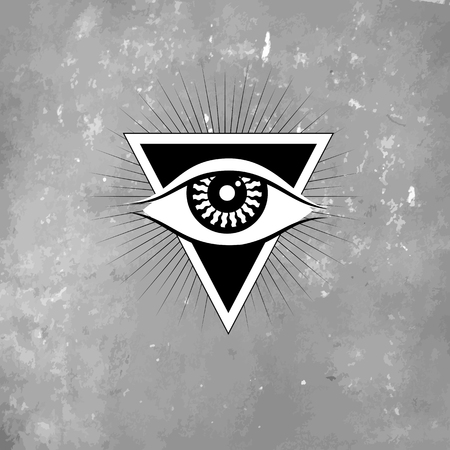 spiritual: Vector geometric alchemy symbol with eye, moon, shapes. Abstract occult and mystic signs. Linear logo and spiritual design. Concept of imagination, magic, creativity, religion, astrology