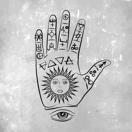 Vector illustration of open hand with sun tattoo, alchemy symbol with eyes and face. Abstract graphic with occult and mystic signs. Linear logo and spiritual design. Concept of magic, palm reading