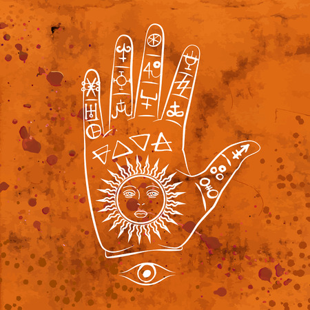 pyramid of the sun: Vector illustration of open hand with sun tattoo, alchemy symbol with eyes and face. Abstract graphic with occult and mystic signs. Linear logo and spiritual design. Concept of magic, palm reading