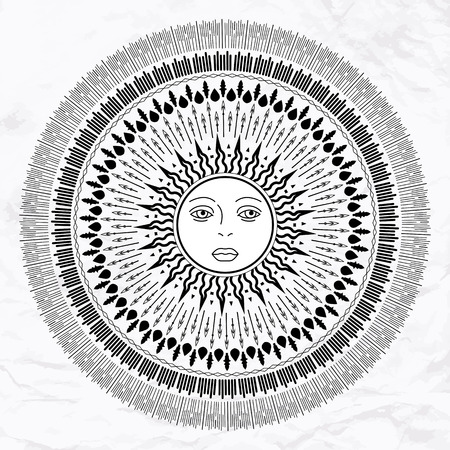 wiccan: Vector geometric illustration of medieval sun icon. Alchemy symbol with eyes and face. Abstract occult and mystic sign. Linear logo and spiritual design. Concept of wiccan religion, magic, , astrology