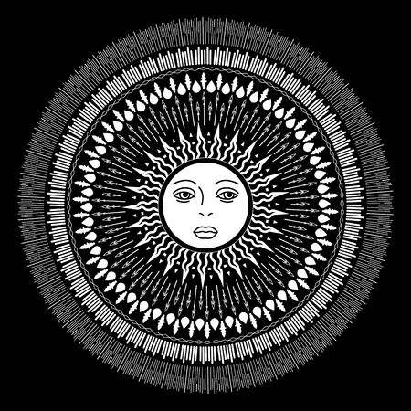 wiccan: Vector geometric illustration of medieval sun. Alchemy symbol with eyes and face. Abstract occult and mystic sign. Linear logo and spiritual design. Concept of paganism, magic, religion, astrology Illustration