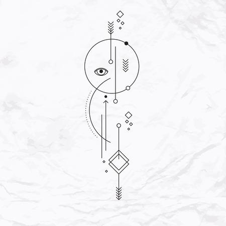 Vector geometrische alchemie symbool met oog, cirkel, vormen, stippen, pijlen. Abstracte occulte en mystieke tekens. Lineaire logo, geestelijk ontwerp en eenvoudige moderne tattoo getekend in dunne lijnen. Magic illustratie