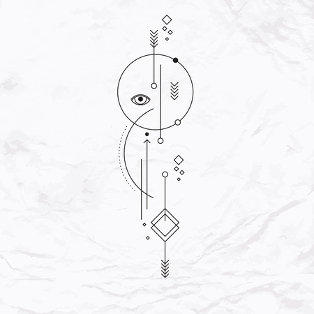 Vector geometric alchemy symbol with eye, circle, shapes, dots, arrows. Abstract occult and mystic signs. Linear logo, spiritual design and simple modern tattoo drawn in thin lines. Magic illustration Vettoriali