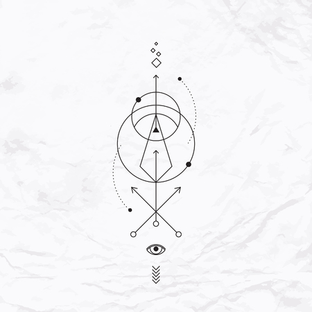 Vector geometric alchemy symbol with eye, circle, shapes, dots, arrows. Abstract occult and mystic signs. Linear logo, spiritual design and simple modern tattoo drawn in thin lines. Magic illustration Vectores
