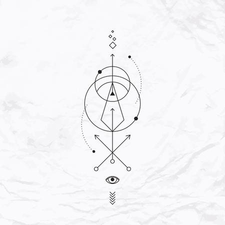 alquimia: Vector geométrica símbolo de la alquimia con el ojo, círculo, formas, puntos, flechas. Resumen oculto y signos místicos. Logo lineal, diseño espiritual y simple tatuaje moderno dibujado en líneas delgadas. Magia ilustración