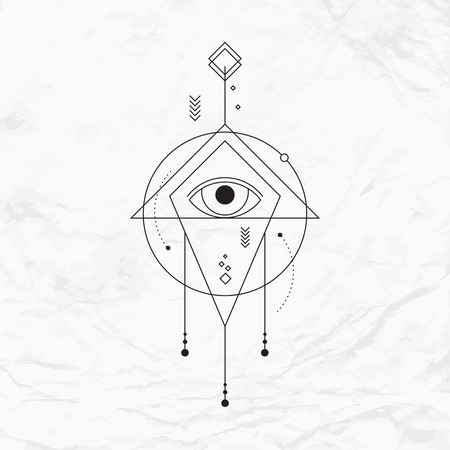 抽象的なベクトルの幾何学的図形、三角形、シェブロン、矢印、円、ドット、アイと神秘的な幾何学的な記号。線で描かれた幾何学的な記号です。  イラスト・ベクター素材