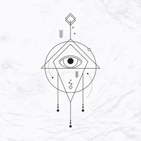 Abstract vector mystic geometrische bord met geometrische vormen, driehoek, chevron, pijl, cirkels, stip, oog. Geometrische symbool getekend in lijnen. Vector illustratie. Eenvoudig, elegant, modern lineaire tattoo Stock Illustratie