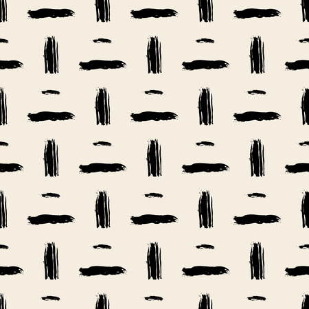 brushstrokes: Seamless bold cross hatch pattern with wide brushstrokes and thin curling stripes hand painted in bright multiple variety of colors for fall winter retro fashion. Vector print in beige and black