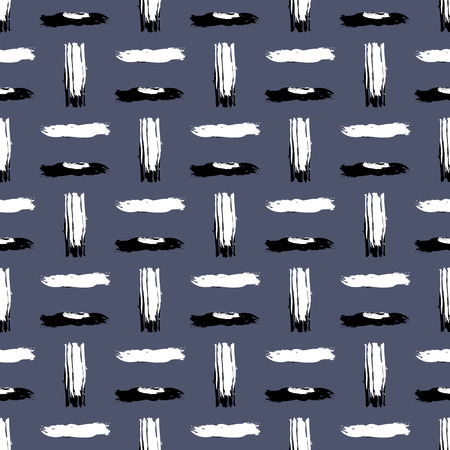 hatch: Seamless bold cross hatch pattern with wide brushstrokes and thin curling stripes hand painted in bright multiple variety of colors for fall winter retro fashion. Vector print in grey, black, white