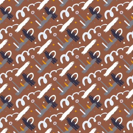 cross hatch: Seamless bold cross hatch pattern with wide brushstrokes and thin curling stripes hand painted in bright multiple variety of colors for fall winter retro fashion. Vector texture in natural brown